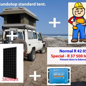 Standard Bundutop and 380W solar panel and Victron MPPT 100/30 controller fitted